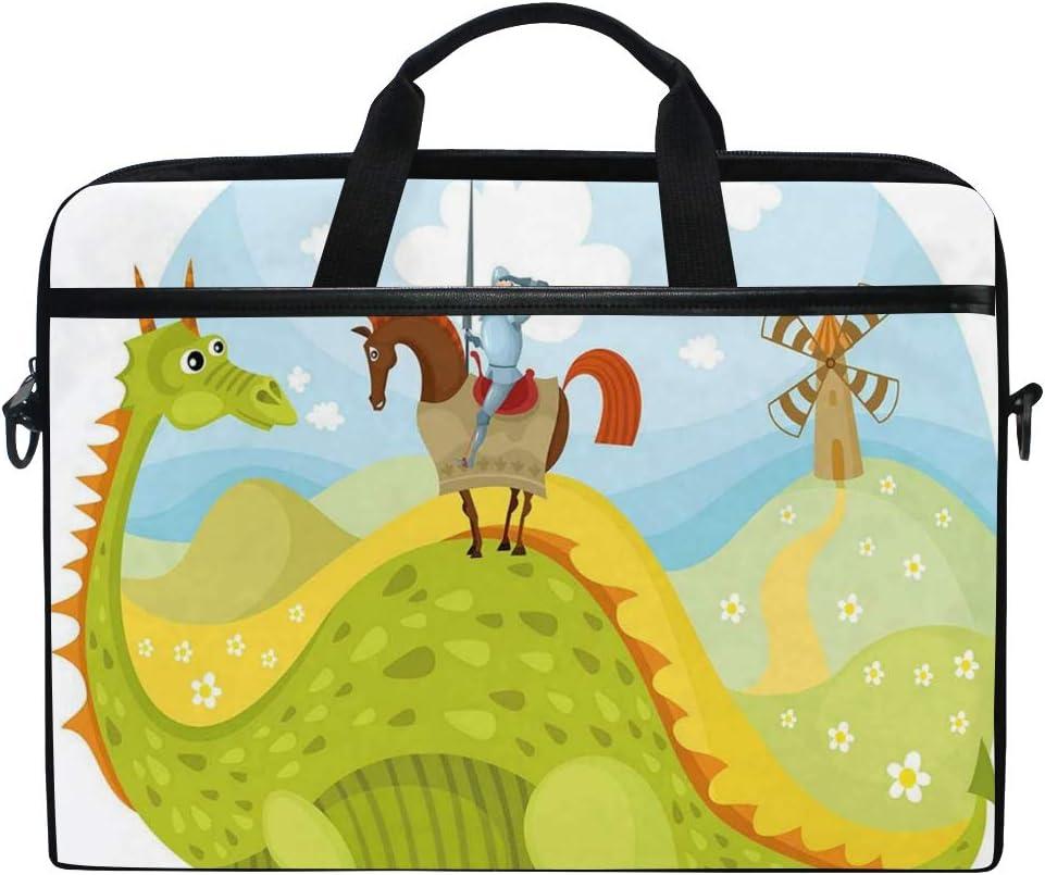 VICAFUCI Nuevo Bolso para portátil de 15-15.4 Pulgadas,Imagen de Cuento de Hadas Medieval Caballero Don Quijote con Caballo Dragon Valley
