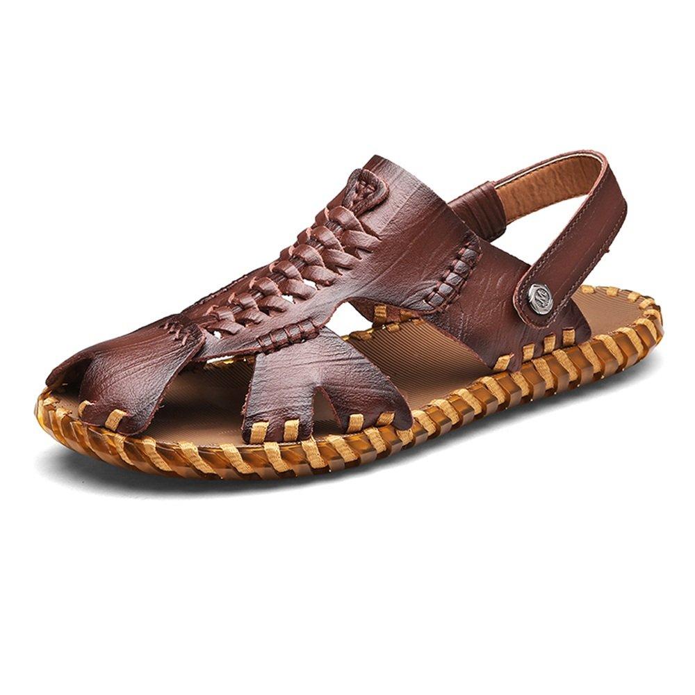 Zapatillas de Hombre de Cuero Genuino Zapatillas de Playa Sandalias Ocasionales Trabajo Hecho a Mano Sutura Antideslizante Suave Plana Cerrado Dedo del pie 40 EU|Dark Brn