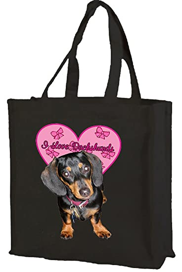 7d54c696617 I Love Dachshunds Cotton Shopping Bag black: Amazon.co.uk: Kitchen ...