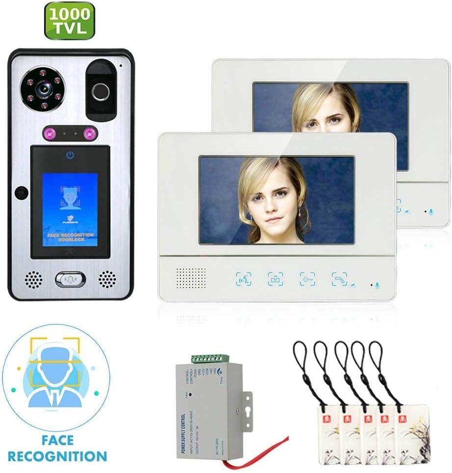 Videoportero inteligente DYWLQ de 7 pulgadas, kit de sistema de intercomunicación con timbre con reconocimiento facial, 2 monitores, 92 ° IR View 1000TVL, huellas dactilares, huellas digitales