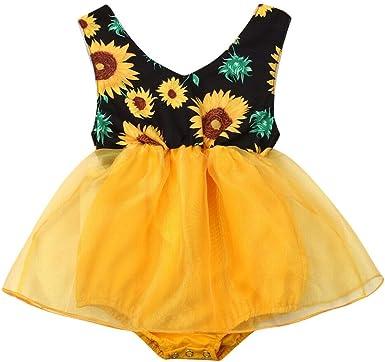 Amazon.com: Bebé Niña Girasol Sin Mangas Mameluco Vestido De ...