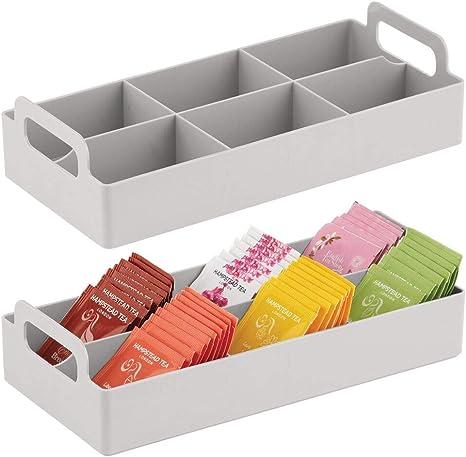 2 Pack mDesign Countertop Tea Bag Divided Storage Organizer Light Gray