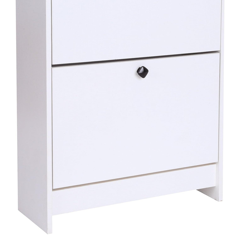 homcom Scarpiera a Ribalta Moderna Salvaspazio Legno 60 /× 24 /× 132cm Bianca