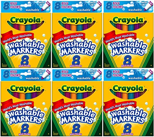 Crayola Washable Bold Colors Broad Line 8 in a Box (Pack of 6) 48 Markers Total