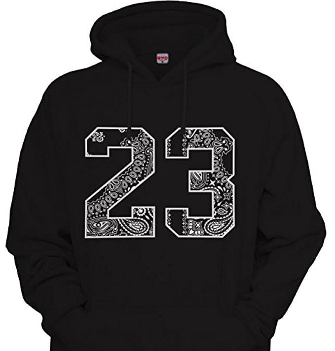 CaliDesign Mens # 23 Bandana Print Hoodie Hip Hop Urbanwear Hooded Sweatshirt Black/White