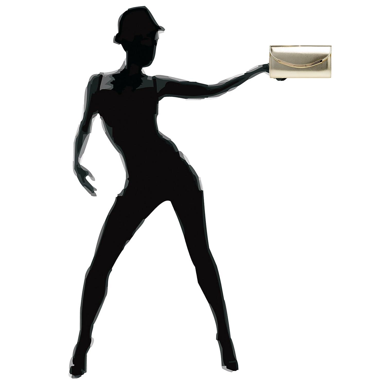 Caspar TA383 Bolso de Mano de Fiesta para Mujer Clutch con Superifice Metalizado