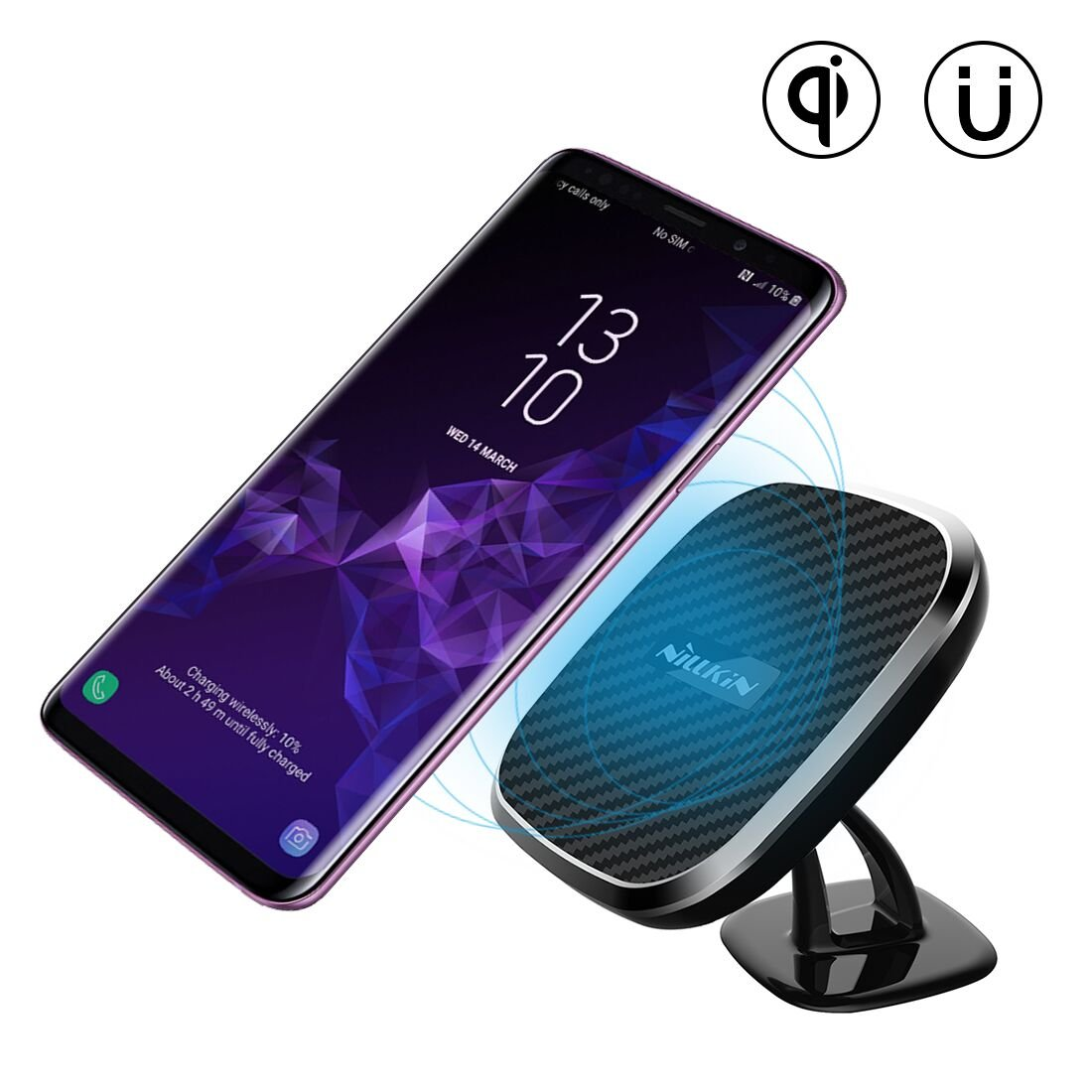Nillkin 2-in-1 Qi Wireless Charging Pad & Magnetic Car Mount Holder for Samsung Note 9/8/S9/S8/S8 Plus, 7.5W Fast Charging for iPhone Xs Max/XS/XR/X/8/8 Plus - Model C