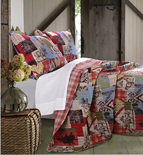 2 Piece Reversible Rustic Plaid Collage Quilt Set Twin Size, Featuring Moose Bear Pine Trees Printed Pattern Comfortable Bedding, Country Retreat Cabin Inspired Bedroom Decoration, Orange, Multicolor