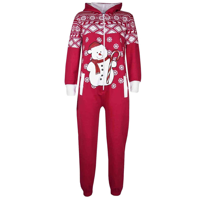 A2Z 4 Kids® KIDS GIRLS BOYS NOVELTY CHRISTMAS SANTA CLAUS PENGUIN SNOWMAN REINDEER PRINT ONESIE ALL IN ONE JUMPSUIT NEW AGE 7-13 YEARS