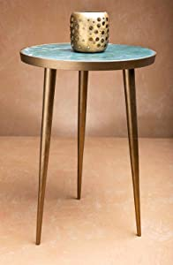 Green Marble and Metal Round End or Side Table - Furniture by Artisanal Creations