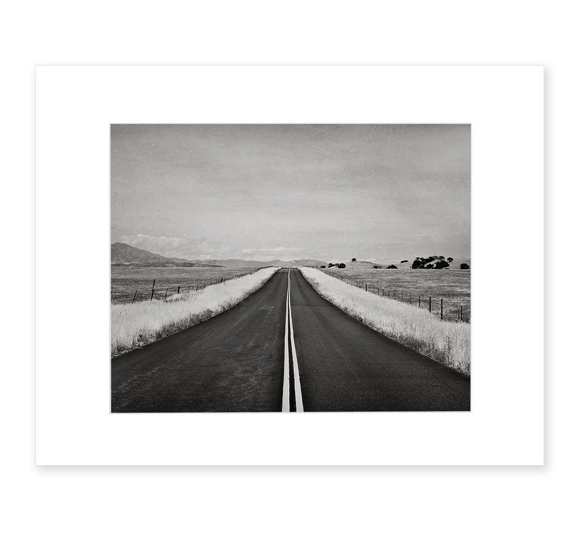 Black and White Rural Landscape Photography, Open Road Picture, Minimalist Wanderlust Wall Art, Rustic Americana Decor, 8x10 Matted Photographic Print (fits 11x14 frame), 'American Road Trip B&W' by Offley Green