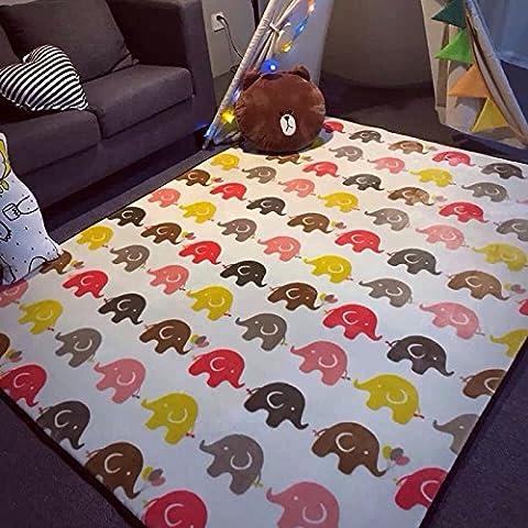 Lovely Printed Elephant Area Rugs Children Play Mat (150x190cm) - Washable Big Carpet Entertainment Floor Mat for Children - Non-slip Bedroom Carpet Floor Mat by (Elephant Floor Rug)