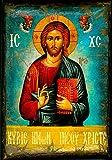Handmade Greek Christian Orthodox Wood Icon of Jesus Christ On Canvas / M3