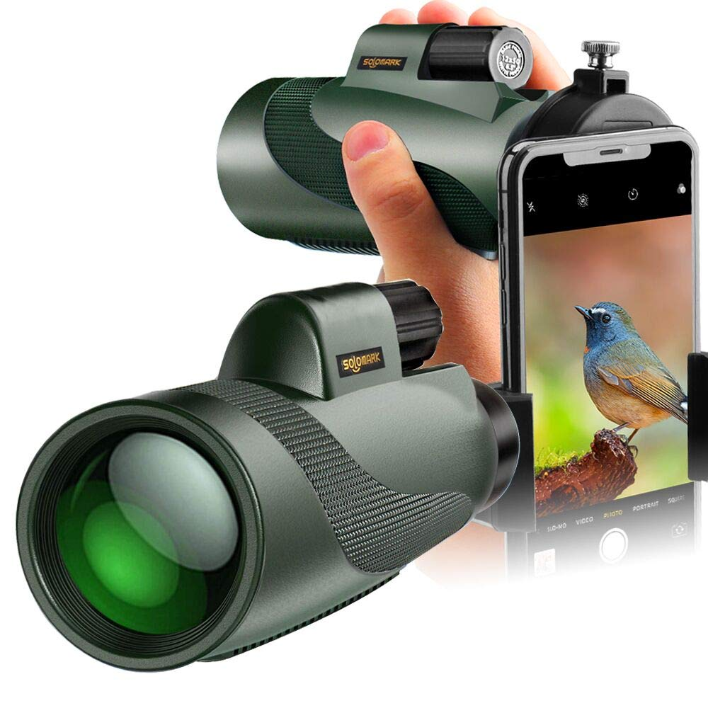 SOLOMARK 12x50 High Power Monocular and Quick Phone Adapter Holder - Bright and Clear Single Hand Focus - For Bird Watching Camping Travelling or Watching Wildlife by SOLOMARK