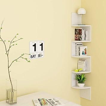 HOMFA Mensola da Muro ad angolo 5 Ripiani Scaffale Libri CD salvaspazio  Mobile a parete Legno per camera soggiorno studio Bianco 20 × 20 × 123cm ...