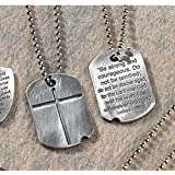 Two-Sided Dog Tag With Engraved Cross And Verse Pewter 21-Inch Pendant Necklace
