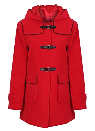 8a8b99316329b JBC Collection Women s Duffle Coat with Leather Piping 22 Red ...