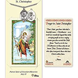 Pewter St. Christopherbaseball Medal On An 24 Inch Heavy Curb Chain With A Prayer To St Cristopher Prayer Card.