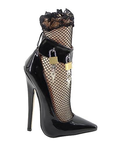 6d72fb4e1bb224 WONDERHEEL Stilleto Ankle Strap Fetish High Heel Patent Padlocks Shoes -  muwi-duesseldorf.de