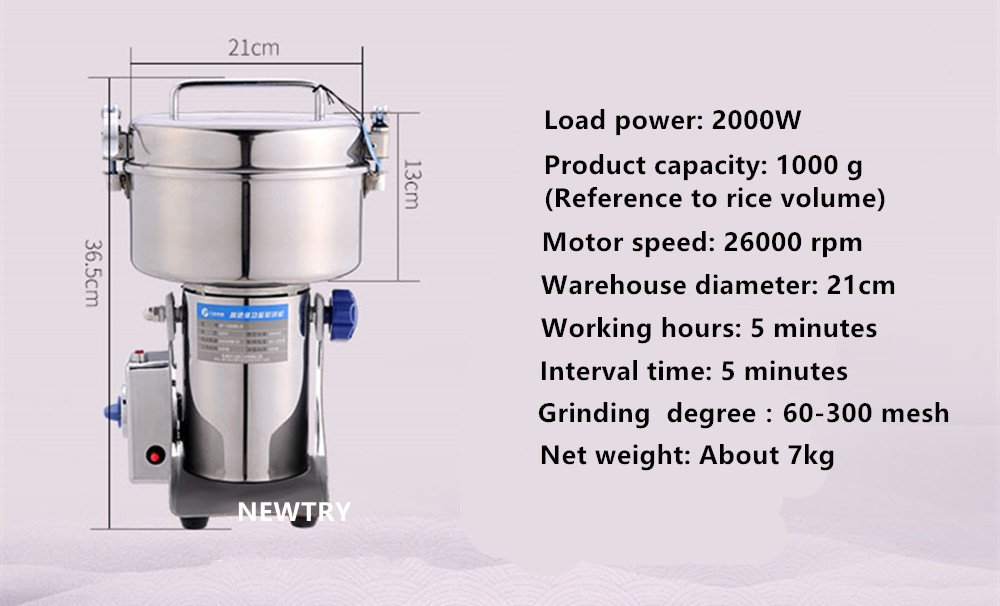 NEWTRY 1000g Pulverizer Blender Mixer Household Food Mill Grain Grinder Superfine For Kitchen Chinese Medicinal Materials Spice Coffee Herb Flavoring 110V/220V by NEWTRY (Image #2)