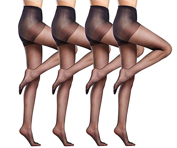 896e0f749 Women s 4 Packs Stockings Ultra-Thin Seamless Control Top Sheer 15 Denier  Pantyhose (4