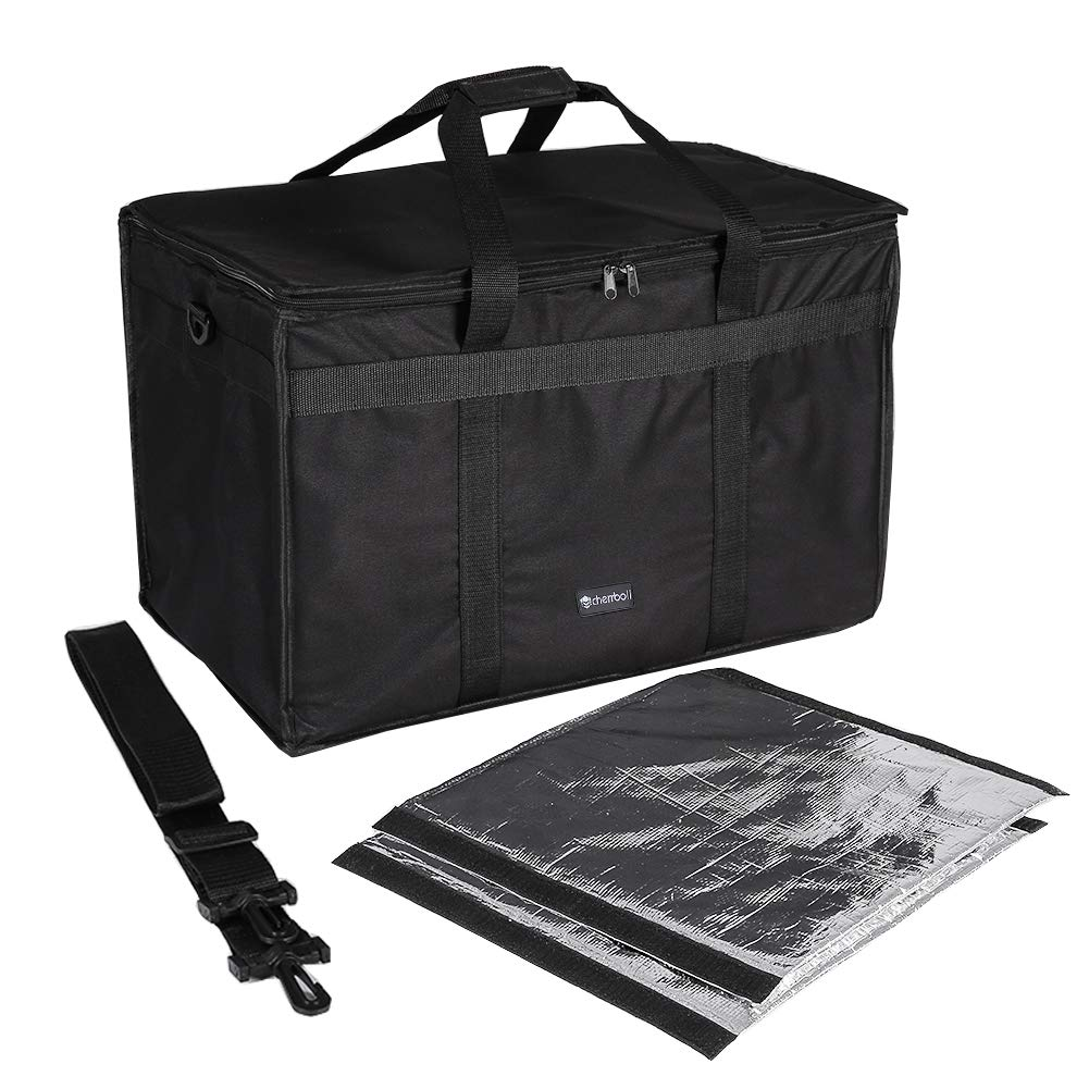 """cherrboll Insulated Food Delivery Bag, Commercial Grade Food Warmer with Detachable Dividers & Shoulder Strap, Thick Thermal Carrier for Restaurant Catering Transport (23"""" x 14"""" x 15"""")"""