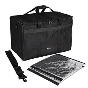 "cherrboll Insulated Food Delivery Bag, Commercial Grade Food Warmer with Detachable Dividers & Shoulder Strap, Thick Thermal Carrier for Restaurant Catering Transport (23"" x 14"" x 15"")"