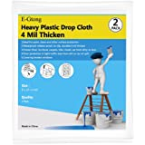 E-Gtong 4 Mil Extra Thick Plastic Drop Cloth, 9' x 12' Drop Sheet and Clear Plastic Tarp, Heavy Duty and Waterproof Plastic Patio Furniture Covers for Paint, Clean, 2 Pack