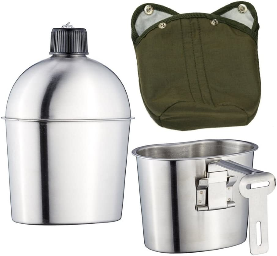 kitchnexus Militar acero inoxidable 1L Cantina con 0.6L taza con Verde de nailon para Camping senderismo supervivencia botella de agua