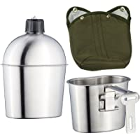 Kitchnexus Outdoor veldfles veldfles roestvrij staal drinkfles camping fles 1L