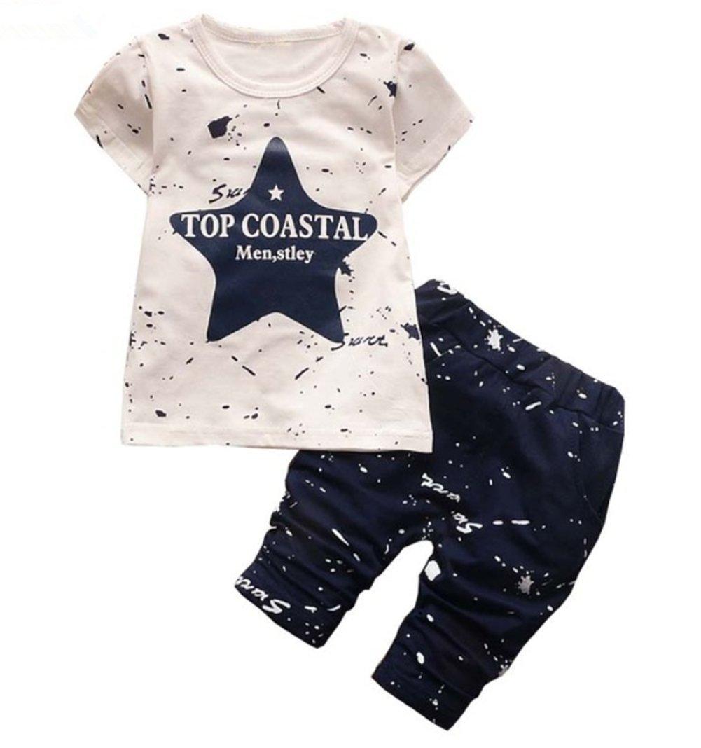 BibiCola Summer Baby Boys Clothes Set Stars Print Clothing Set Infant Children Clothing(Blue,3T