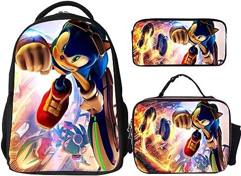 The Hedgehog Sonic Children Backpack Lunchbox Crossbody Bags Pen Case Kids Lot