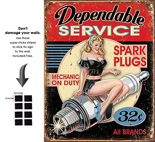 (Shop72 - Dependable Service Spark Plug Tin Sign Retro Vintage Distrssed - with Sticky Stripes No Damage to)