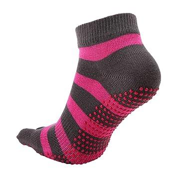 Ouvin 2 Pares diseño de Rayas Calcetines de Yoga Antideslizante Calcetines Dedos Completa algodón Pilates Calcetines