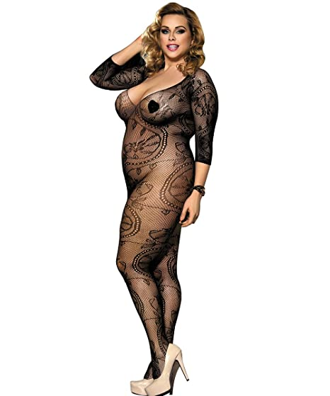 Buy Authentic wholesale online diversified in packaging BeautyWill Bodystockings Fishnet Lingerie Crotchless Women Sexy Bodysuit  Floral Lace Teddy Tights Plus Size