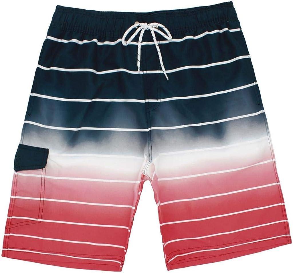 Arcweg Mens Swimming Shorts Knee Length with Pockets Swimming Trunks Mens Long Adjustable Drawstring Elastic Waist Board Shorts Surf Soft Mesh Lining Beach Shorts Fashion Watershorts Lightweight