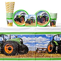 Creative Converting Tractor Time for 16 Guests: Straws, Dessert Plates, Beverage Napkins, Cups, and Table Cover