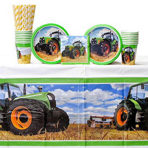 Tractor Time Party Supplies Pack for 16 Guests: Straws, Dessert Plates, Beverage Napkins, Cups, and Table Cover -