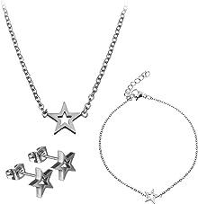 Lady Bling Bling Damen Schmuck-Set Halskette mit Anhänger, Armband und Ohrringe aus Edelstahl Stern inkl. Etui
