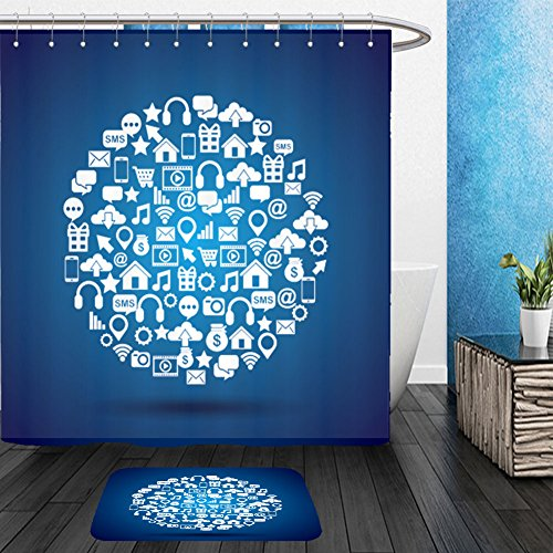 Social Media Icon Costumes (Vanfan Bathroom 2 Suits 1 Shower Curtains &  1 Floor Mats social media icons in circle shape over blue background colorful design vector illustration 517185250 From Bath room)