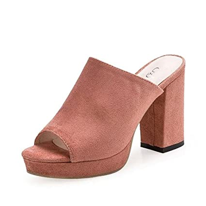 346eb9a80a Amazon.com  AIMTOPPY HOT Sale Ladies Women Square High Heels Slipper ...