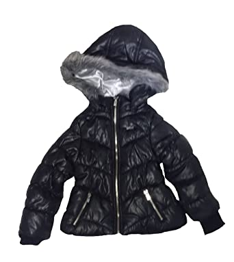66656e2567a Amazon.com: DKNY Girls/Toddler Hooded Faux Fur Puffer Jacket: Clothing