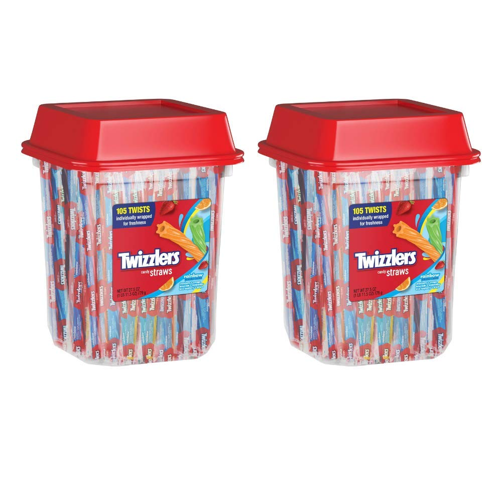 TWIZZLERS Licorice Candy, Rainbow Straws, 105 Count, 27.5 Ounce - Pack of 2 by Twizzlers