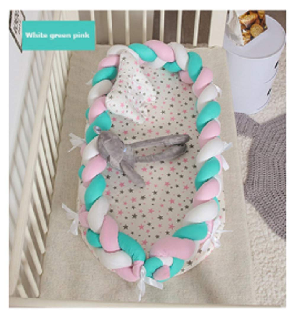 Baby Nest Bed Travel Crib Baby Bed Infant CO Sleeping Cotton Cradle Portable Snuggle 9055cm Newborn Baby Bassinet BB Artifact - White Green Pink by Hwealth