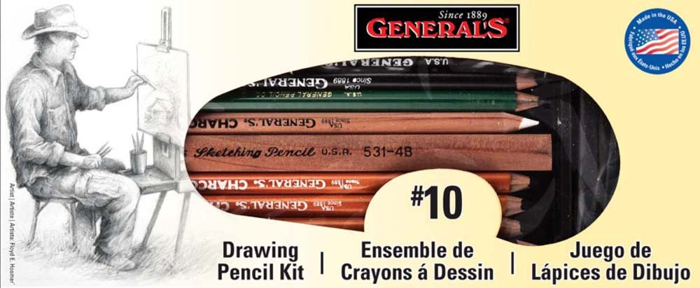 General Pencil 10 Drawing Pencil Kit, 12-Piece