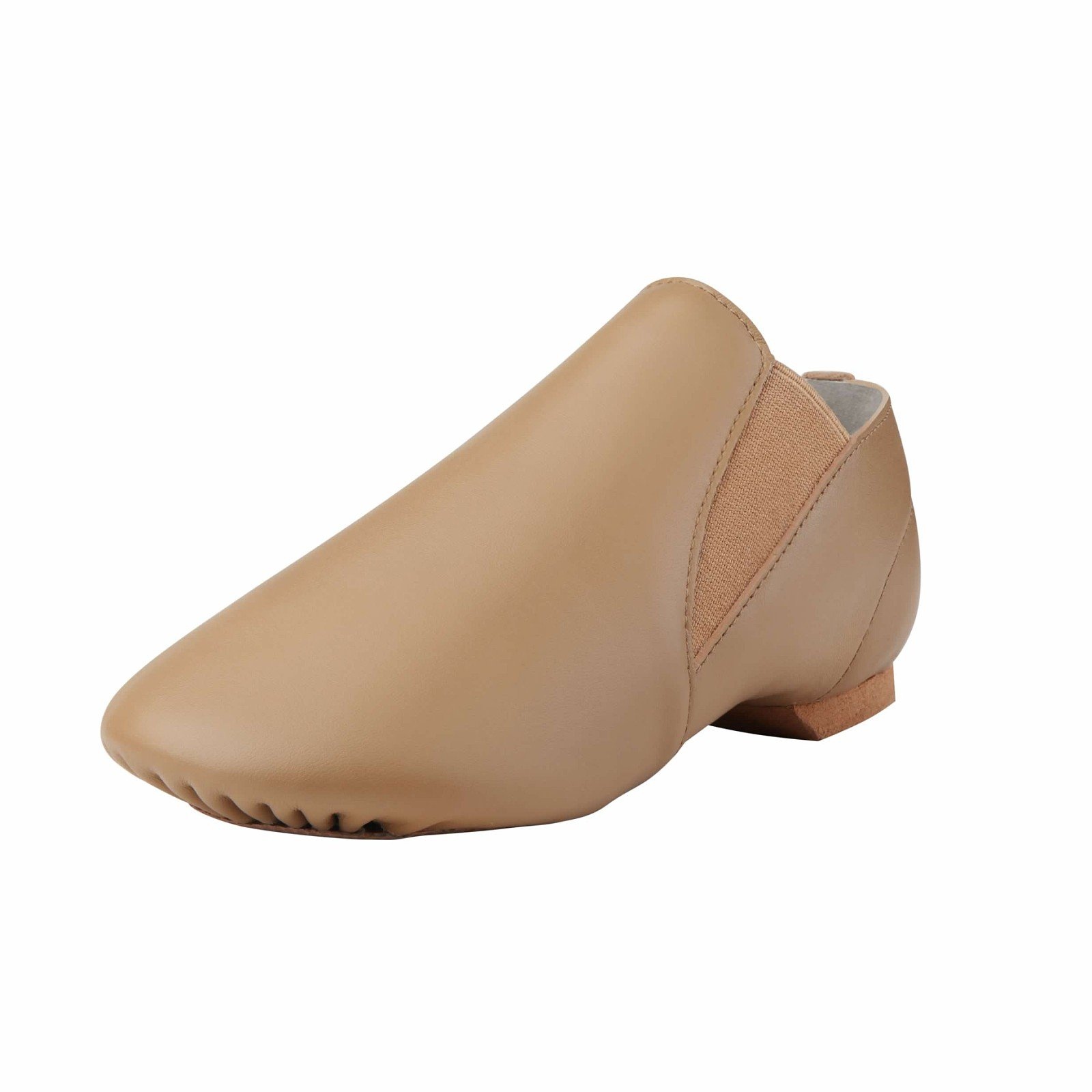 Dynadans Women's Leather Upper Slip-on Jazz Shoe with Elastics Brown 7.5M