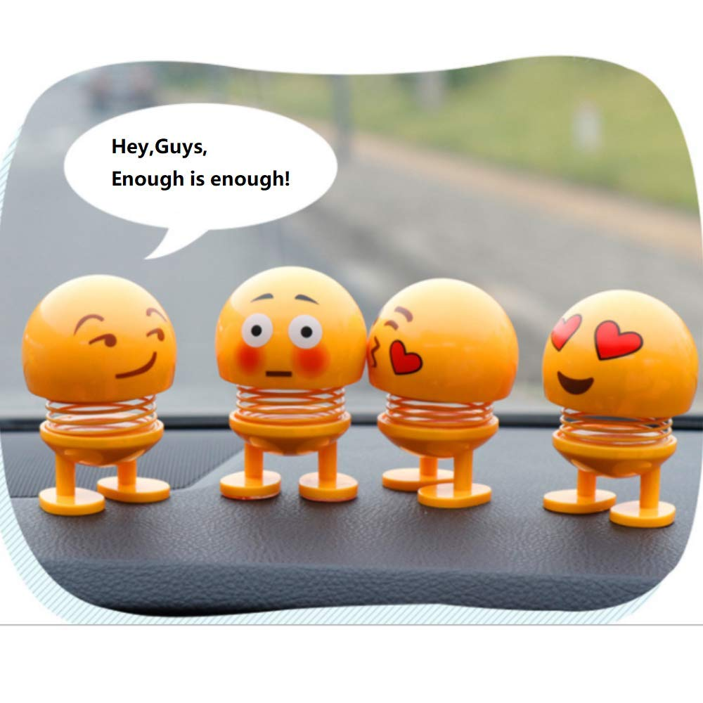 Kaptin 8 PCS Emoticon Spring Doll Smiling Face Spring Doll Shaking Head Dancing Doll Toy Bouncing Doll Desktop Doll Kids Party Favors Bounce Figure Dashboard Spring Figure Car Spring Doll by Kaptin (Image #3)