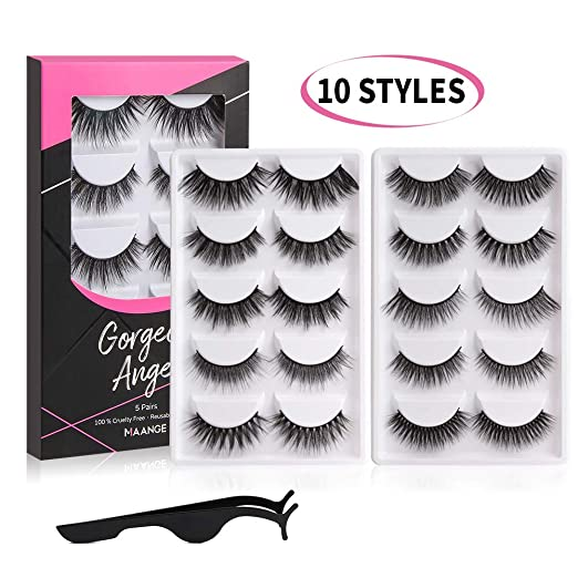 MAANGE Eyelashes 10 Styles False Eyelashes Resuable Handmade 3D&5D Lashes Natural Fake Eyelashes Long and Soft False Lashes with Free EyeLash Tweezers - 10 Pairs best fake eyelashes