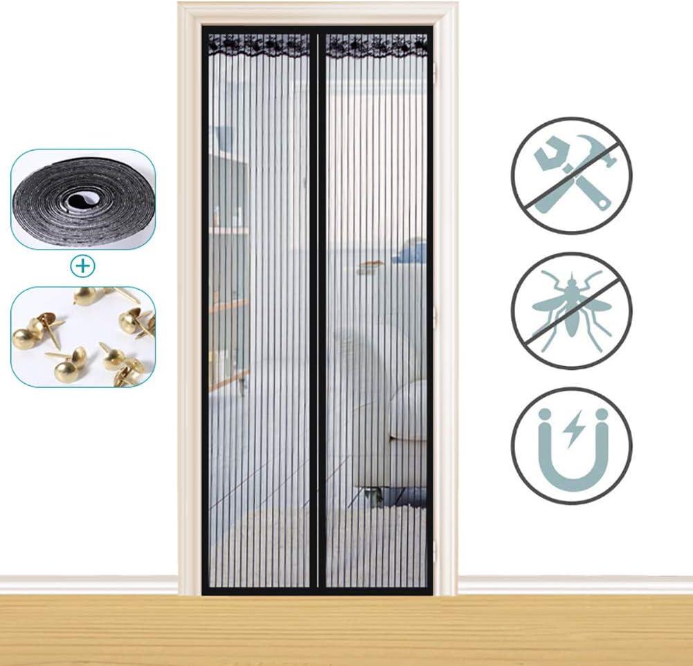 Xrrxy Puerta magnética para mosquiteras, Insectos Mosquito Door Screen, Totalmente Magnética, Cierre Automático y Velcro Adhesiva, para Puertas Correderas/Balcones/Terraza,Negro,100x210cm(39x83inch): Amazon.es: Hogar