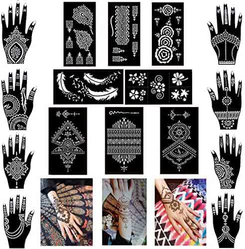 Pack of 16 Sheets Henna Tattoo Stencil/Templates Temporary Tattoo Kit,Indian Arabian Self Adhesive Tattoo Sticker for Hand Body Paint